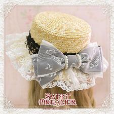 Woman Sweet Dolly Lolita Straw Hat Princess Lace Pearl Bowknot Cap Brown Sunhat