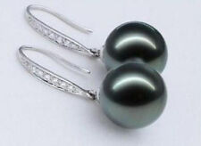 Classic Tahitian Black Sea Shell Pearl Silver Hook Dangle Earrings 12mm