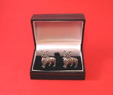 French Bulldog Fashion Pewter Cuff-links Pet Vet Dad Christmas BOXED New Gift