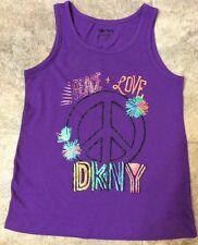 DKNY Girls Pansy Purple Tank Top Shirt Size M