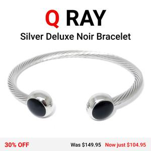 Q-Ray Silver Deluxe Noir Ionized Energy Healing Bracelet