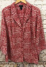 Maggie Barnes blouse shirt women 3X button up 3/4 slv salmon coral abstract K7