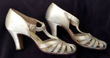 vintage 1930s ivory satin high heeled shoes by Forsythe sz 6.5M excellent cond