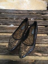 Hollywould Cabana Black & Gold Flats Women's Casual Shoes Size 37/6.5