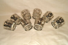 8 Libbey Low Ball On The Rocks Rose Etched Embossed Platinum Overlay Glasses