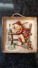 Hummel - Retreat To Safety Boy w Frog Wall hanging/plaque, #126