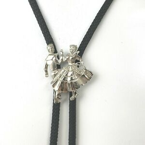 Bolo Tie Square Dance Couple Pewter Cowboy Country Western Jewelry USA Vintage