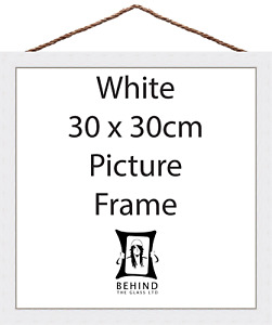Hanging Handmade White Wooden Picture/Photo Frame - 30x30cm by Behind The Glass