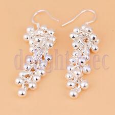Beautiful Pair Silver Plated Pearl Beads Grape Hook Earrings DG