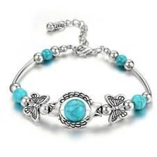 Turquoise Gemstone Butterfly Charm Cuff Bracelet 925 Sterling Silver Jewelry