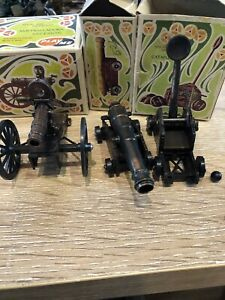 An Assortment Of Boxed Canons And A Catapult. 54mm Metal Models. c1970s