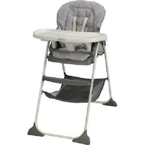 Slim Snacker Baby High Chair Foldable Portable Durable Folding Highchair Whisk
