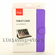 Verizon Apple iPad Air 2 Folio Flip Leather Cover Hard Shell Case w/Stand Purple
