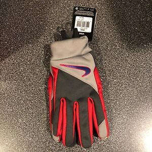 New Mens Nike Sheild New York Giants Football Gloves Size Large Red White Blue