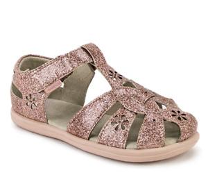 pediped Girls Nikki Rose Gold Closed Toe Sandals Sizes US 7 & 7.5-8/ EU 23 & 24