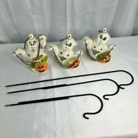 Halloween Set of 3 Hanging Ghosts Tealights with Stakes EUC Garden Yard Decor