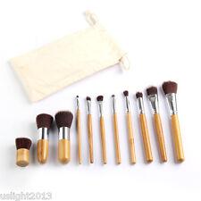 Newest 11 Pc Bamboo Make up Brushes Set Foundation Blusher Kabuki Super Soft