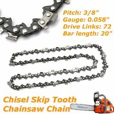 "Chainsaw Chain 3/8"" .058"" 72DL Semi Chisel Skip Tooth Saw for Husqvarna 20'' Bar"