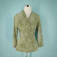 J McLaughlin Size Medium M Top Catalina Cloth Wrap Tee Long Sleeve Dot Print
