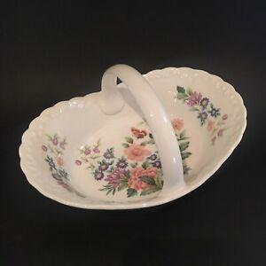 Vintage Coalport Fine Bone China Bowl Basket Dish Mayfield Floral