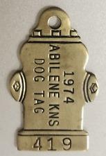 New listing Vintage Dog License Brass Tag: Abilene Ks 1974; Figural Fire Hydrant Design