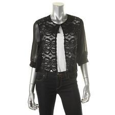 R&M Richards 6199 Womens Black Lace Sheer Bolero Shrug Shell L BHFO