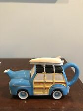 Blue Sky Clayworks Woody Wagon Teapot Retro Surfboard Beach Woodie Station Nwob