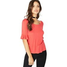 Miss Selfridge Red Frill Sleeves Lattice T-shirt Size UK 10 DH078 KK 11