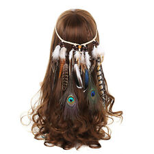 Indian Headband Hippie Feather Hairband Head Band Headpiece Fancy Dress Festival