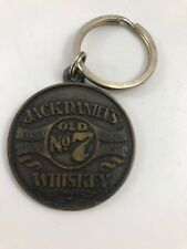 VINTAGE JACK DANIELS OLD NO. 7 WHISKEY OLD TIME SOUR MASH BRASS KEY CHAIN