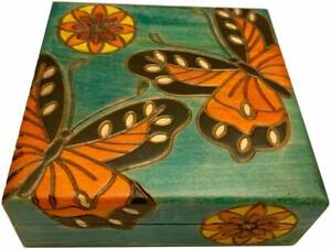 Butterflies and Flowers Decorative Box Handcrafted Wood Keepsake Girl's Gift