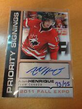 2011 Upper Deck Fall Expo Priority Signings Adam Henrique 73/75 Team Canada