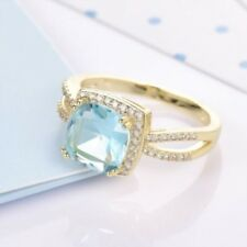 18 K Yellow Gold Filled Brilliant Blue Aquamarine Crystal Engagement Ring Size 7