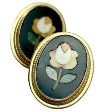 Antique Petra Dura 14K Yellow Gold Screw Back Clip On Rose Flower Earrings Italy