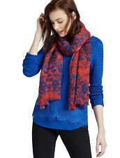 Lucky Brand - Women's - NWT $59 - Red/Blue Floral Vine Wool Baby Fringe Scarf