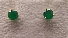 Earrings Emerald 14k Yellow Gold Round Martini 3 prong Mounting New Green 4.5mm