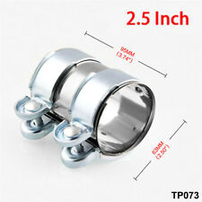 """Stainless Steel Turbo Exhaust Muffler Pipe Clamp +Bolts fit 2.5"""" tube Silver"""