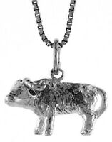 .925, Sterling Silver 12mm Tall Chinese Zodiac Pendant Charm for Year of the Ox