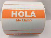 50 Labels 3.5x2.375 ORANGE Spanish Hola Me Llamo Name Tag Stickers