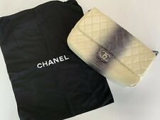Chanel White/Gray Quilted Caviar Leather Jumbo Ombre Single Flap Bag