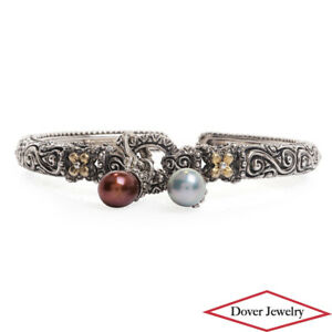 BARBARA BIXBY Pearl 18K Gold Sterling Silver Cuff Bracelet 35.4 Grams NR