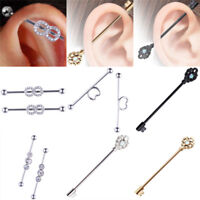 1x Industrial Bar Scaffold Ear Barbell Ring Various Styles Ear Piercing Jewelry~