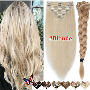 Thick Double Weft Clip In Real Remy Human Hair Extensions Full Head Blonde/Ombre