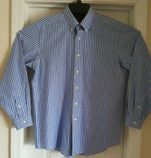 """LL Bean"" Button Down Dreses Shirt  Blue/White Stripe Wrinkle Resistant 15.5-33"