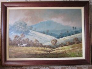 """South African School, Original Oil on Board. """"Rolling Hills"""" Atmospheric & Large"""