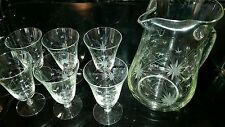 Vtg Crystal Glass Drink Set * Wheel Cut * Pitcher 6 Goblets * Starburst Design