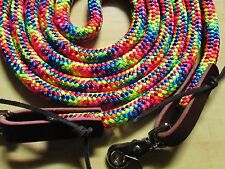 Rose Lodge 7' Yacht Rope Barrel Roping Reins RAINBOW Orange, Lime, Purple, Pink