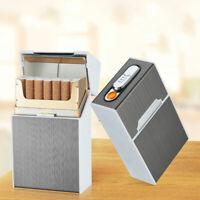 20-slot Portable Aluminium Cigarette Tobacco Storage Case with USB Lighter DEN