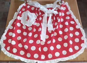 DISNEY Parks Adult Size Minnie Mouse Polka Dot Spot Frilly 50s Pinny Apron WDW