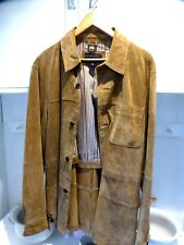 Leather jacket / over shirt Mens button front machine washable Tan size M